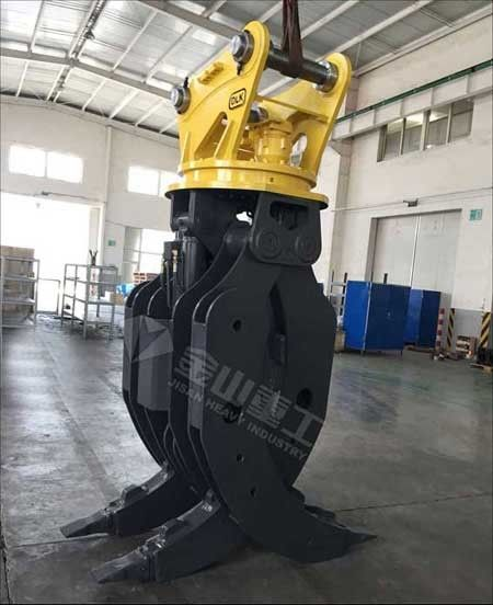 Heavy Duty Hydraulic Log Grapple Double Cylinders For 30 Ton Excavator Volvo EC290 EC360